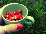 A cup of strawberries