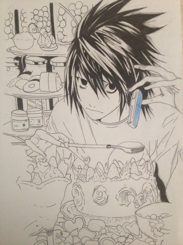 Death Note L linArt * by BrownBeard
