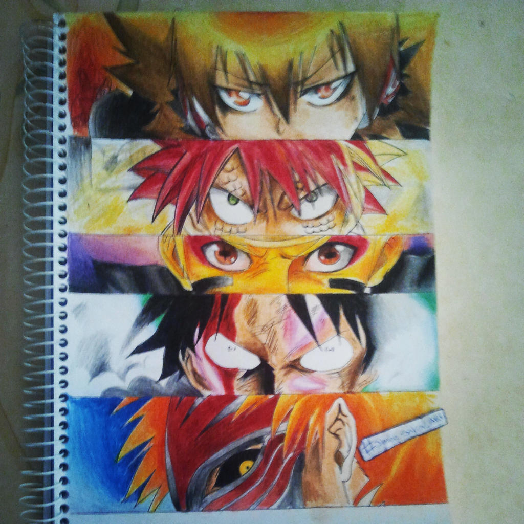 Tsuna, Natsu, Naruto, Luffy and Ichigo by BrownBeard on ...