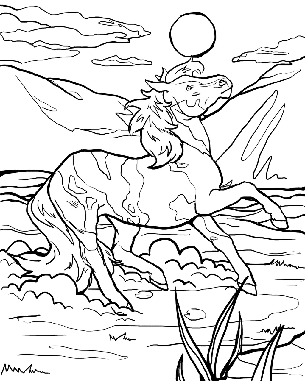Wild Horse Coloring Page By Lylade3