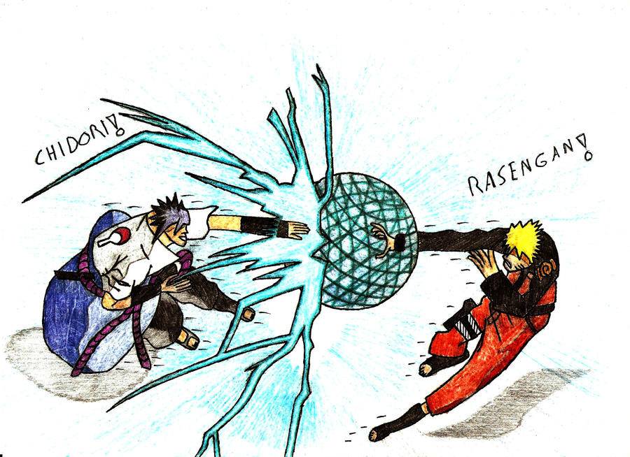 how to draw naruto vs sasuke chidori vs rasengan