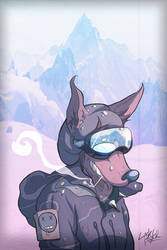 Snowboarding Doggo by LaskertheFox