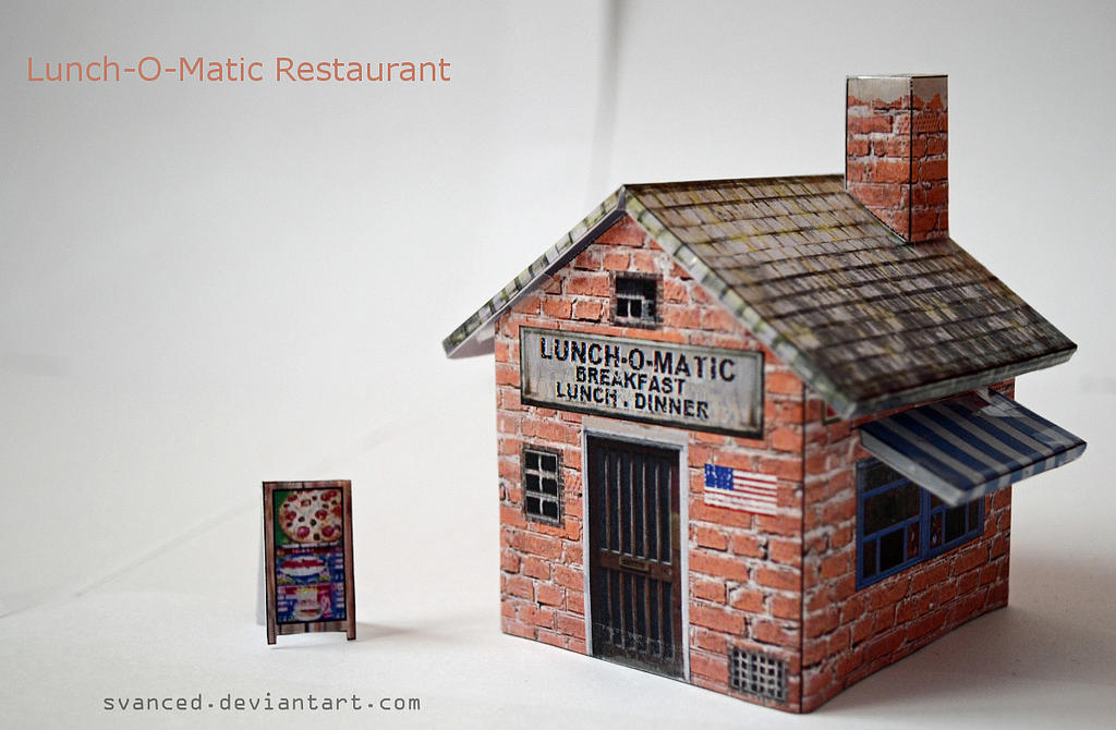 Lunch O Matic Restaurant Papercraft DOWNLOAD By Svanced