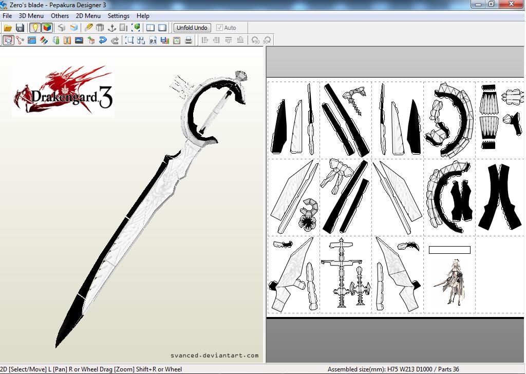Drakengard 3 Zero\'s Blade Papercraft Template by svanced on DeviantArt