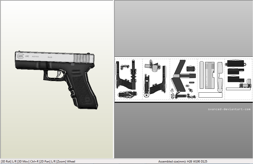 Easy Glock18c Papercraft DOWNLOAD By Svanced
