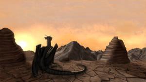 Dragon gazes at mountains during sunset in desert