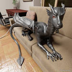 Dragon on the sofa, closeup