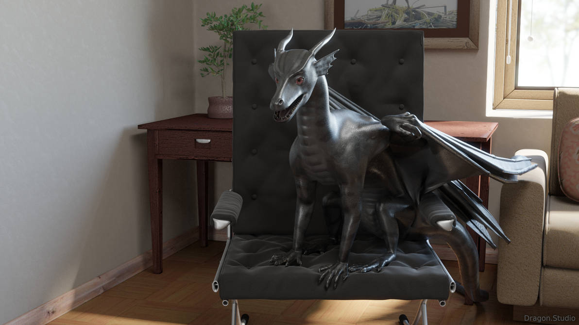 [1/8] Dragon sitting in the chair by Dragon-Studio