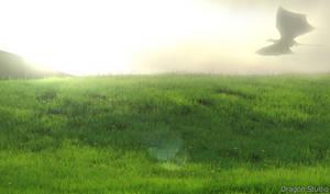 Dragon flying across meadow
