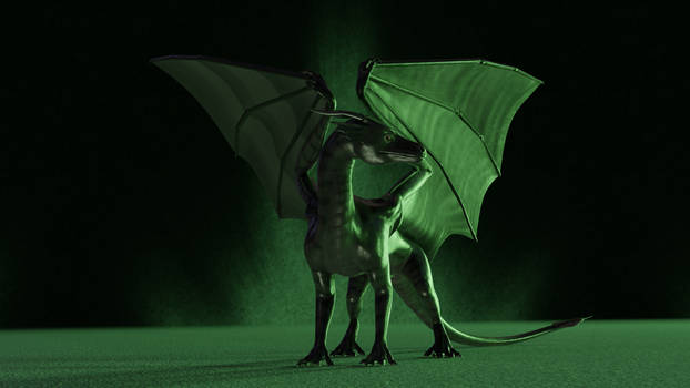 Dragon standing in green lighting