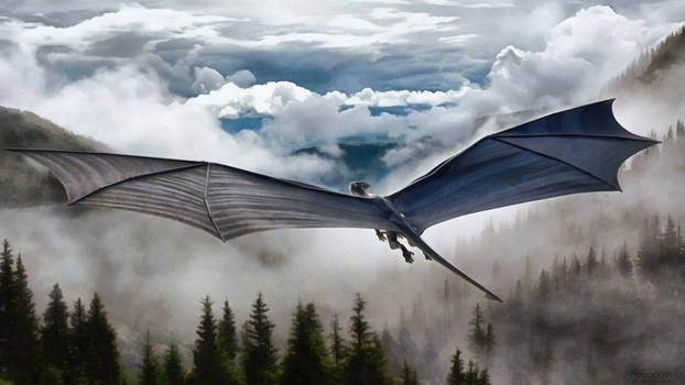 Dragon Flying Over Misty Forest