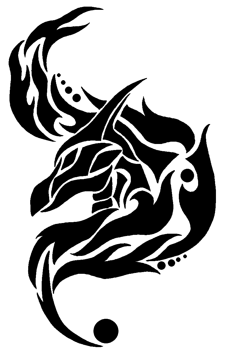 Dragon head and flames tribal by chili19