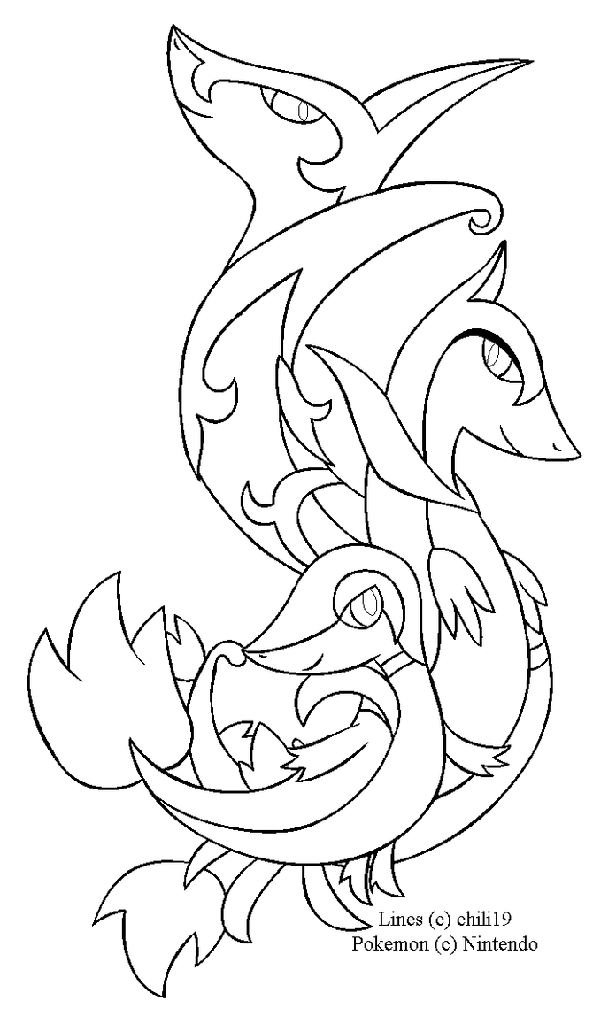 Snivy family Lineart by chili19 on DeviantArt