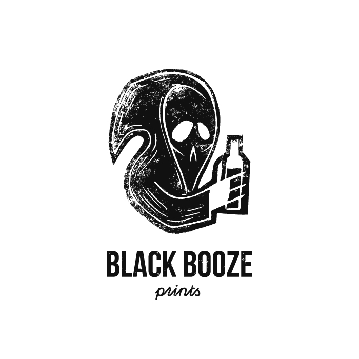 Black Booze Prints by artcoreillustrations