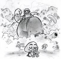 Mega Mario Menaces Millions by Mr-DNA