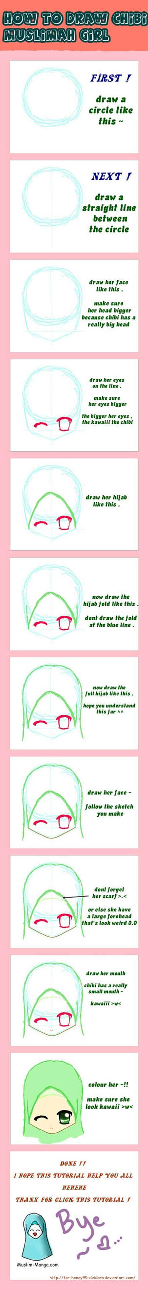 How to draw chibi muslimah hijab girl by Far-Honey95-Deidara