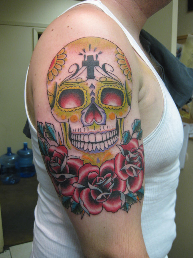 Day of the dead skull and rose tattoo by tatshuka on for Day of the dead skull tattoo