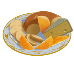 Bagel, Cheese, and Oranges