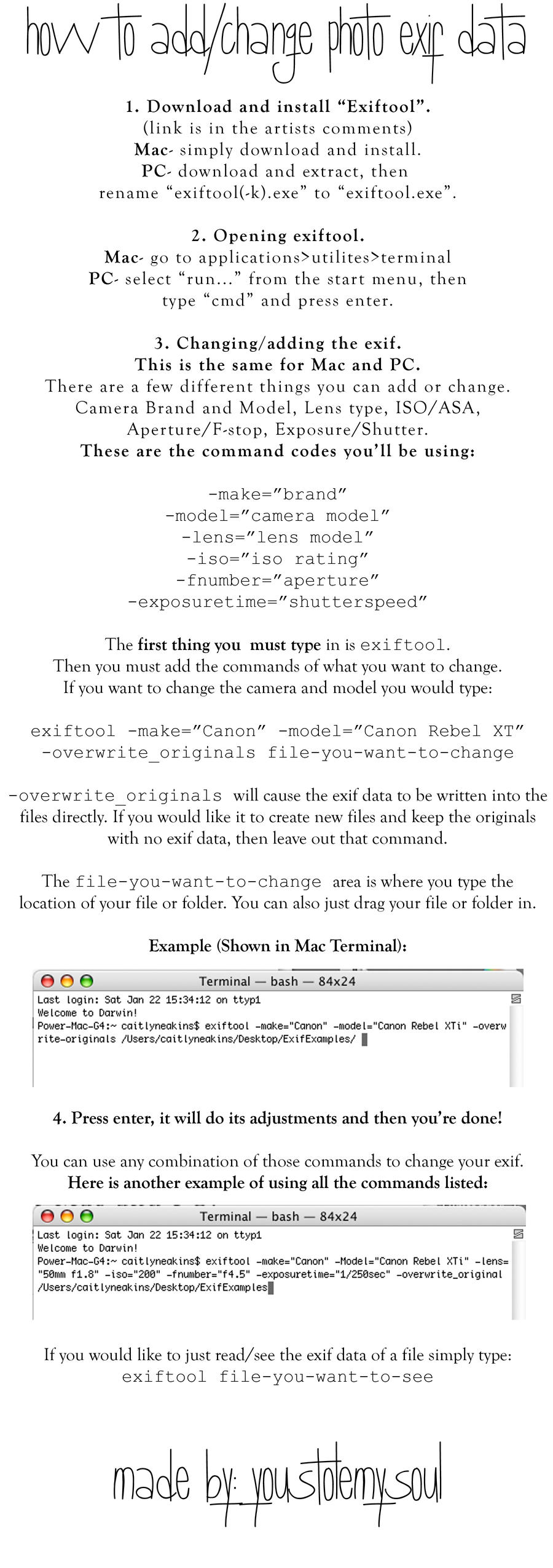 How to Change-Add Exif Data by youstolemysoul2 on DeviantArt