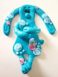 Fimo Blue Rabbit Magnet