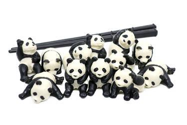 Cute Panda Bears and Sticks