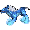 Blue Rune Demon Dog Pixel by LupisDarkmoon