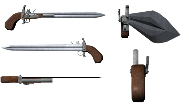 Gun Knife Multiple Perspectives