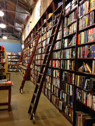 Ladders on Rails in the Bookstore by rainrivermusic