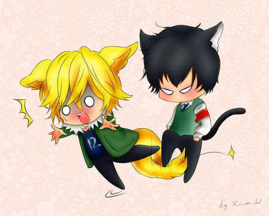 Commission: Chibi Dino and Hibari... by Xin-W