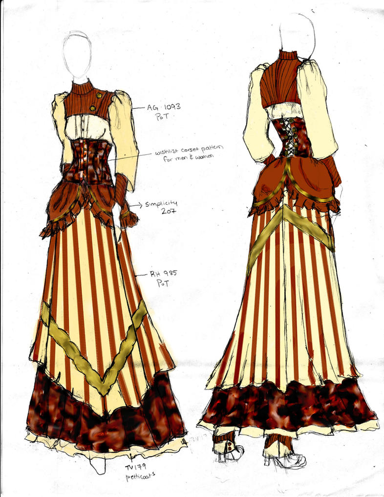 Victorian steampunk fashion design 1 by angerbunnie on for What is steampunk design