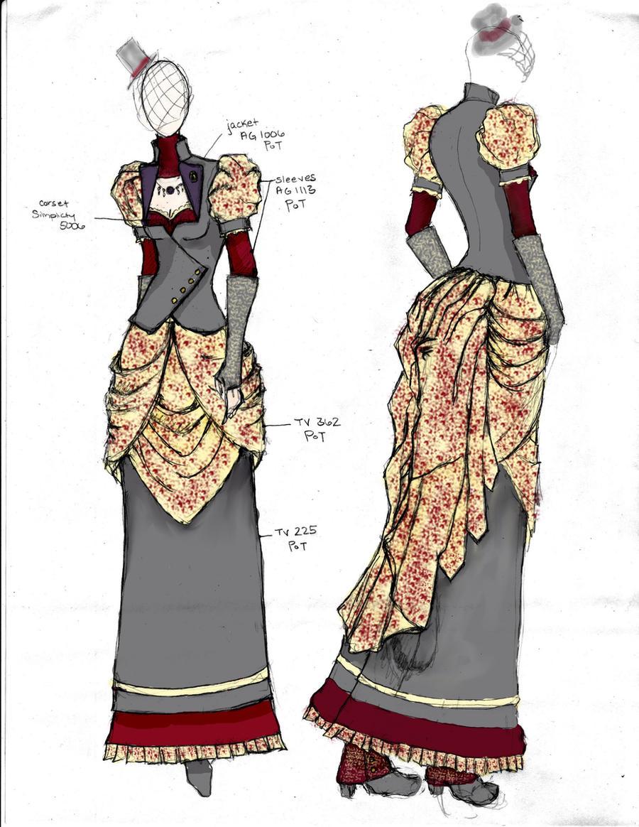Victorian/Steampunk Fashion Design 4 by angerbunnie on DeviantArt