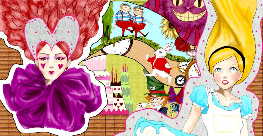 Alice in wonderland mural desi by mooglefly on deviantart for Alice in wonderland mural