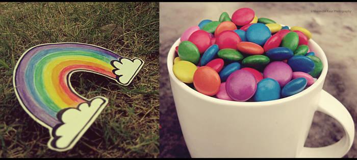 cup of rainbow gems