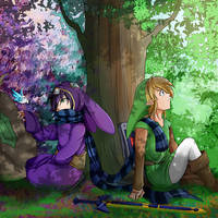 Ravio with Link - Link Between Worlds by Alamino