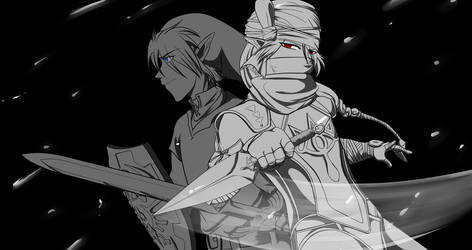 Sheik and Link Battle Onward by Alamino