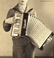 Boy With Accordion by Holunder