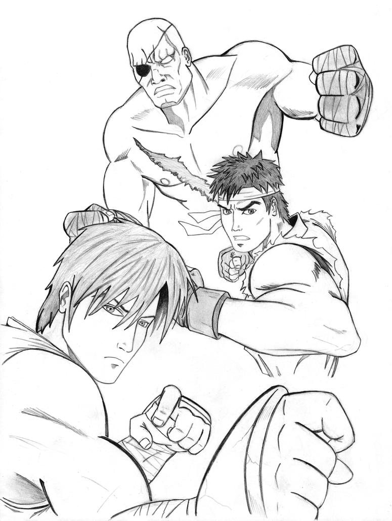 SFIV: Sagat, Ryu, Guy by x-raider