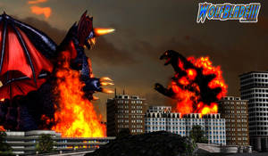 Burning Godzilla vs Destroyah by WOLFBLADE111