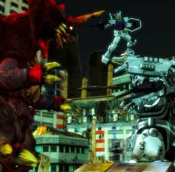 Art Trade: Kiryu and RX Gundam vs Destroyah by WOLFBLADE111