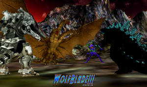 Godzilla, Shinji and Kiryu vs Ghidorah