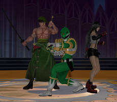 Request: Zoro, Tommy Oliver and Tifa Lockhart