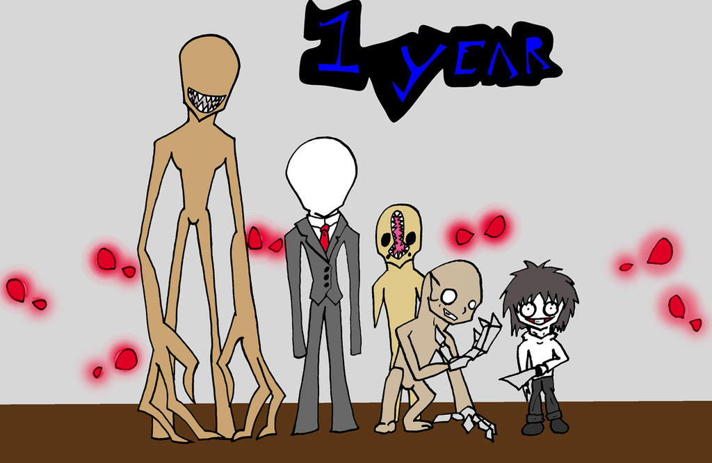 Slenderman and the Rake 1 year banner by BionicleKid97