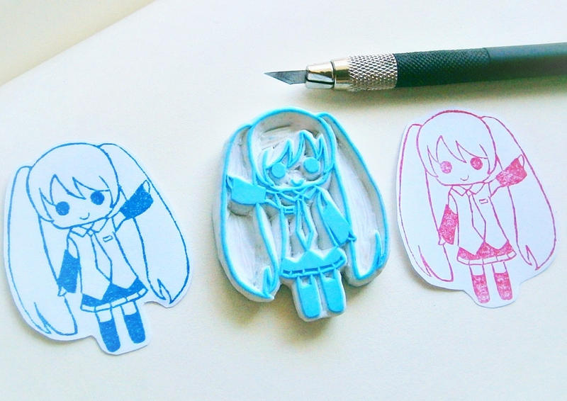 Chibi Miku Rubber stamp by XluciferXX