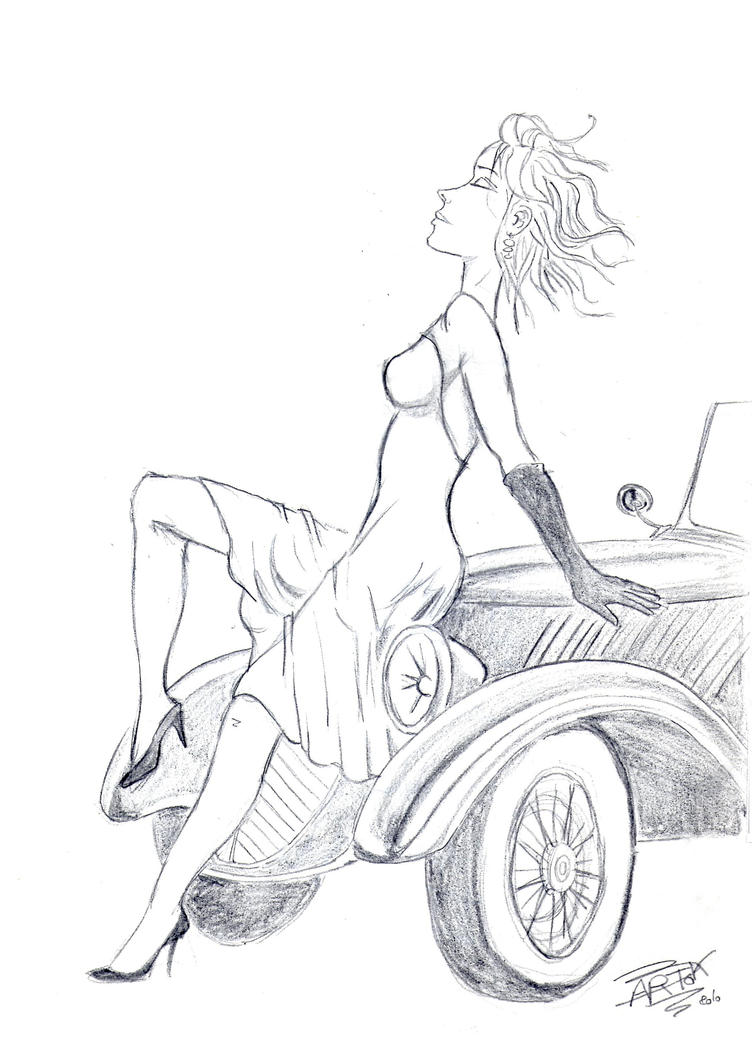 Pin Up 50's old french car by