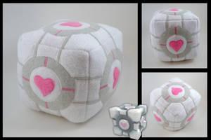 Portal Companion Cube plushie by eitanya