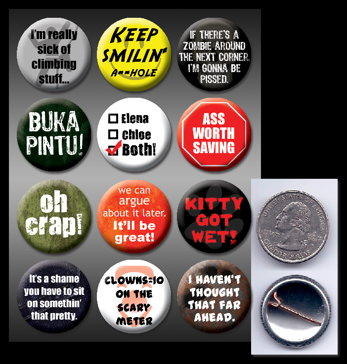 Uncharted pinback buttons by eitanya