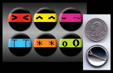 Many Moods of a Ninja buttons by eitanya