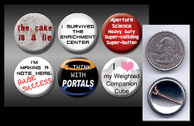 Portal 1' pinback buttons by eitanya
