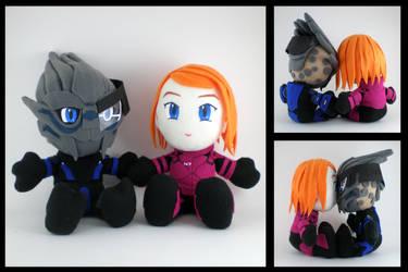 Garrus and Shepard plushies by eitanya