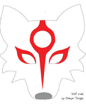 Wolf mask pattern with Okami markings